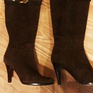 Cole Haan - Brown Nicole Suede Knee High Boots